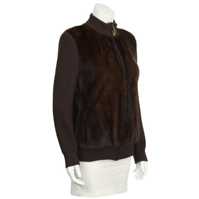 1970's Chocolate Brown Mink Bomber Jacket 2