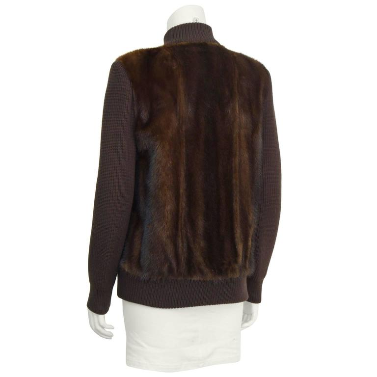 1970's Chocolate Brown Mink Bomber Jacket 3
