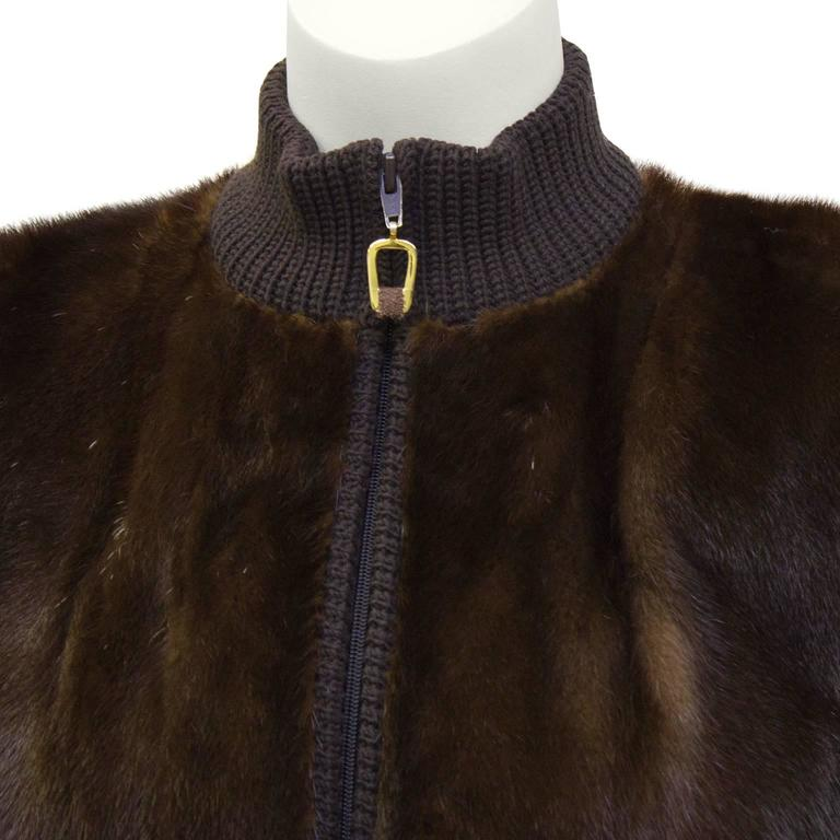 1970's Chocolate Brown Mink Bomber Jacket 4