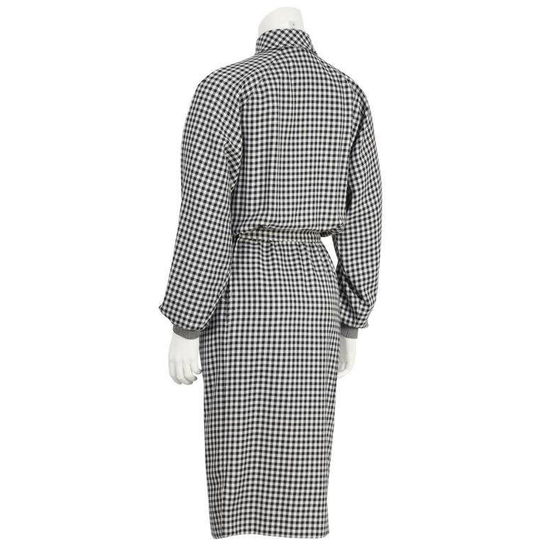 1980's Ungaro Black and White Houndstooth Wool Dress 3