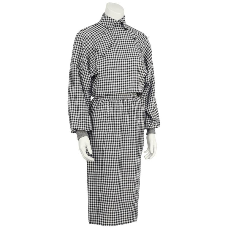 1980's Ungaro Black and White Houndstooth Wool Dress 2