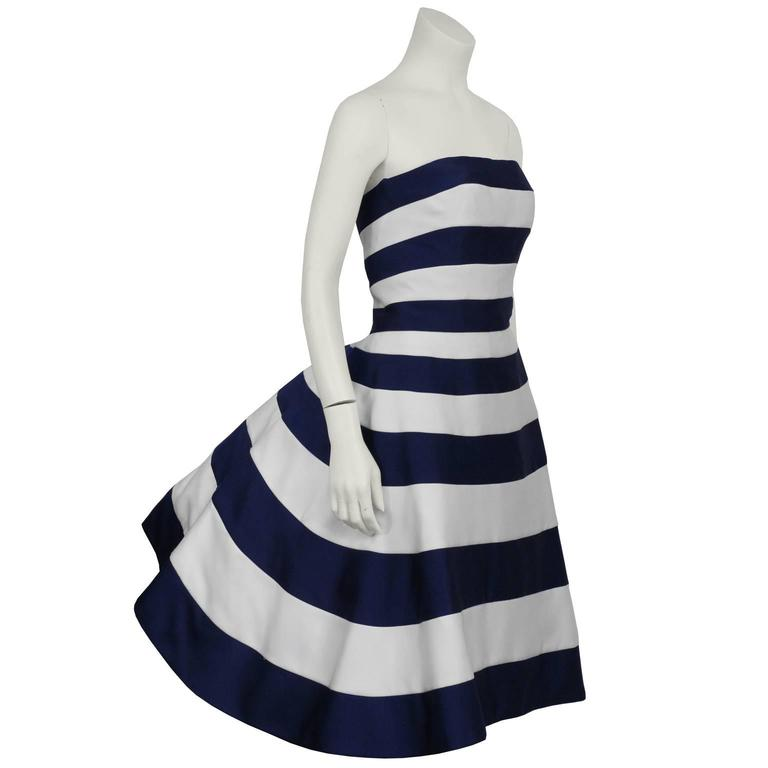 1980's Victor Costa Navy and White Strapless Cocktail Dress 2