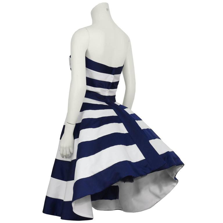 1980's Victor Costa Navy and White Strapless Cocktail Dress 3