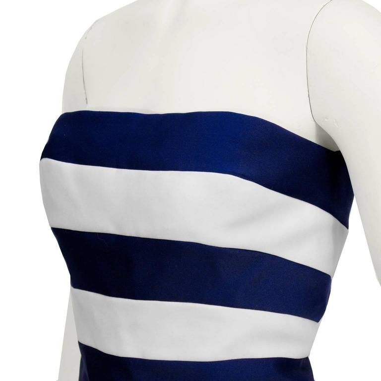 1980's Victor Costa Navy and White Strapless Cocktail Dress 4