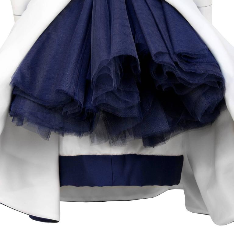 1980's Victor Costa Navy and White Strapless Cocktail Dress 5