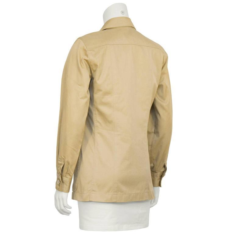 Beige 1990's Yves Saint Laurent YSL Rive Gauche Safari Jacket  For Sale