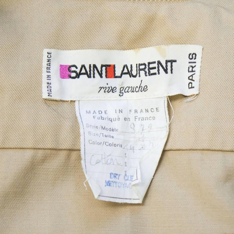 Women's 1990's Yves Saint Laurent YSL Rive Gauche Safari Jacket  For Sale