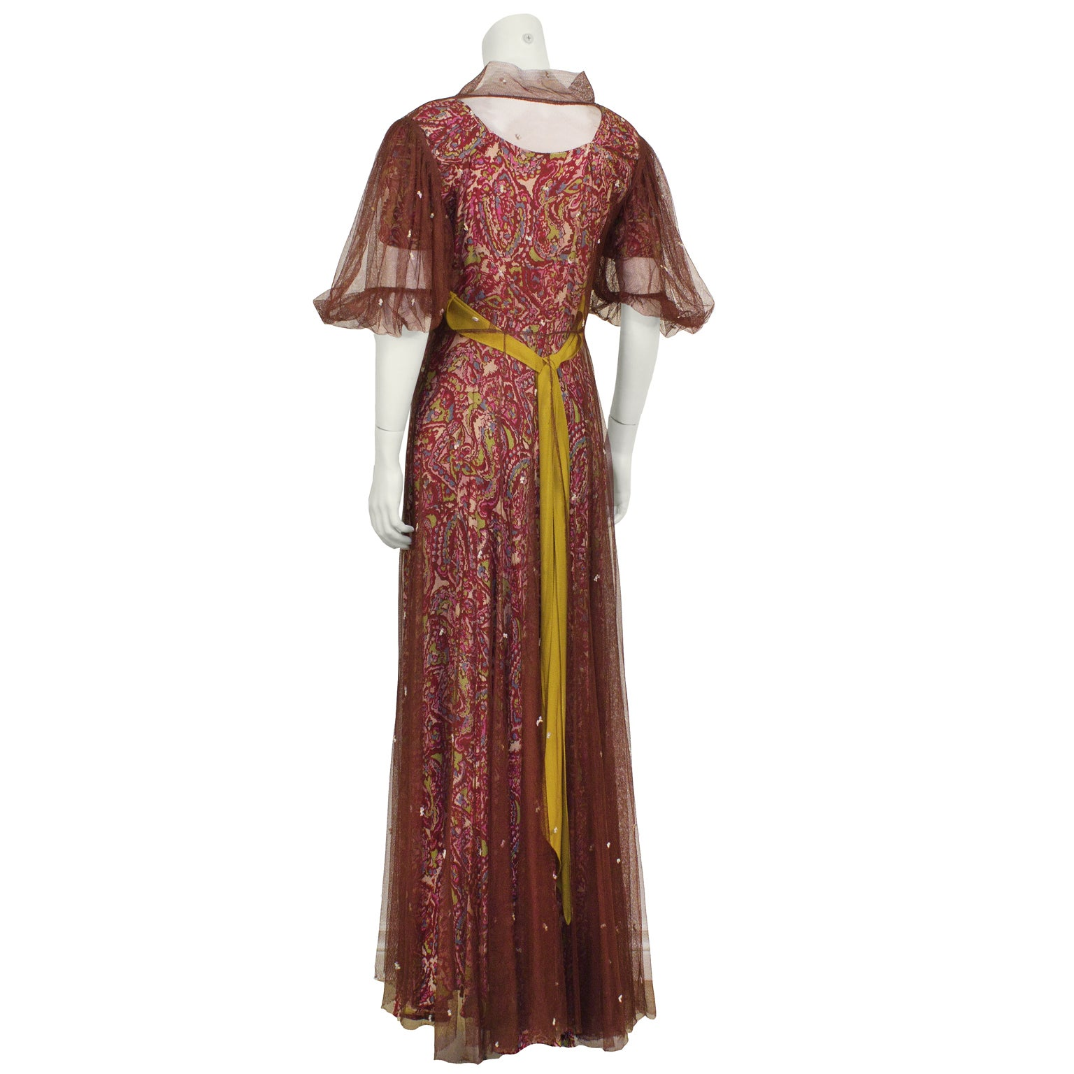 1940\'s Anonymous Paisley Gown with Maroon Net Overcoat For Sale at ...