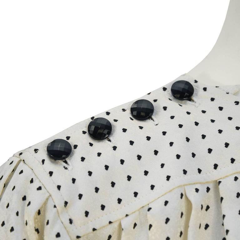 1980's Emanuel Ungaro Off White & Black Silk Polka Dot Blouse In Excellent Condition For Sale In Toronto, Ontario