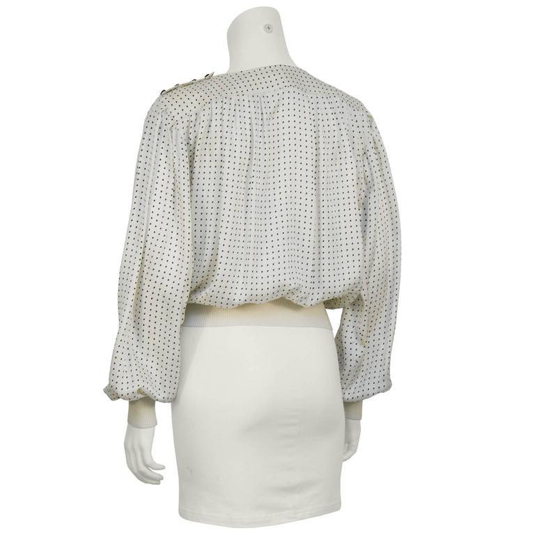 Gray 1980's Emanuel Ungaro Off White & Black Silk Polka Dot Blouse For Sale