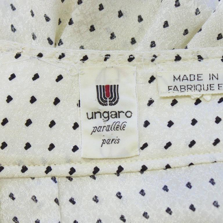 Women's 1980's Emanuel Ungaro Off White & Black Silk Polka Dot Blouse For Sale