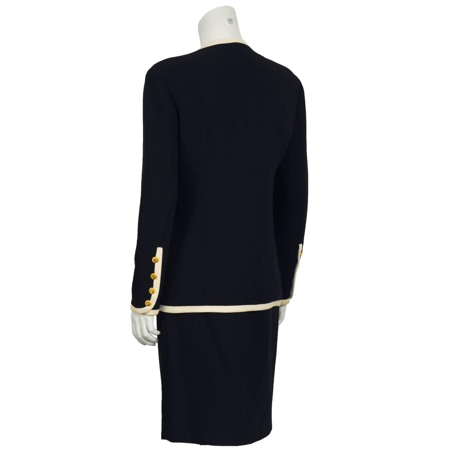 Cloverleaf Home Interiors 1980 S Chanel Navy And Cream Skirt Suit For Sale At 1stdibs