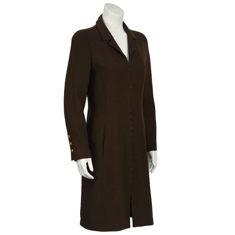 Fall 1996 Chanel Brown Wool Coat Dress 2