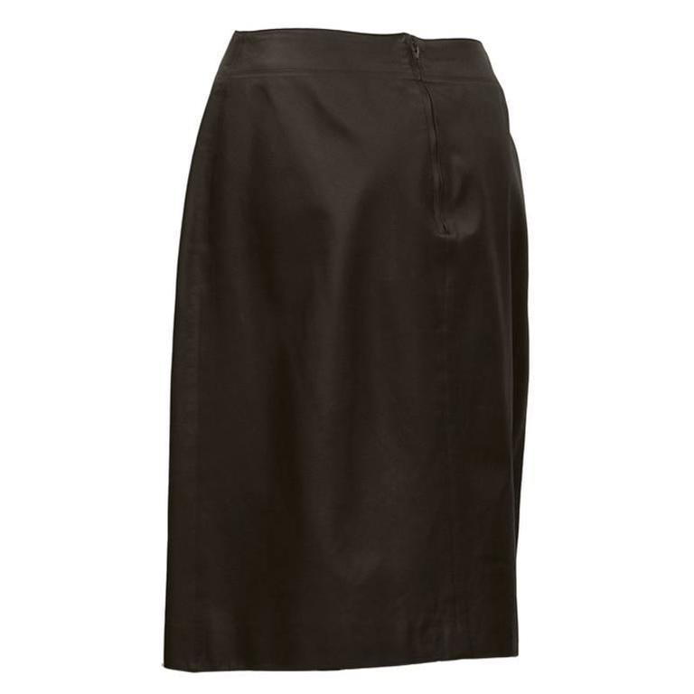 1999 chanel brown leather skirt for sale at