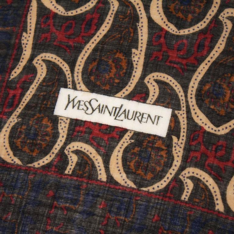 Black 1980's Yves Saint Laurent YSL Wool Boteh Scarf For Sale