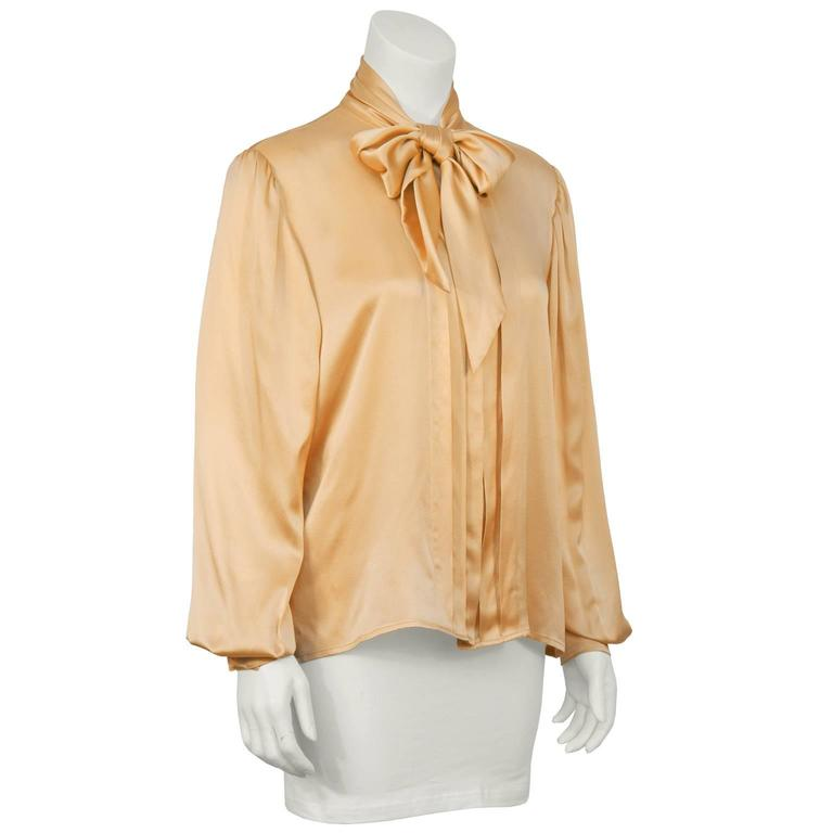 1980's Ungaro Blush Peach Silk Neck Tie Blouse at 1stdibs