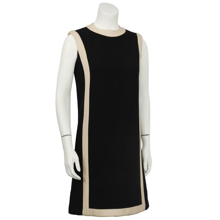 1960's Anonymous Black Wool Shift Dress w/ Cream Detail 2