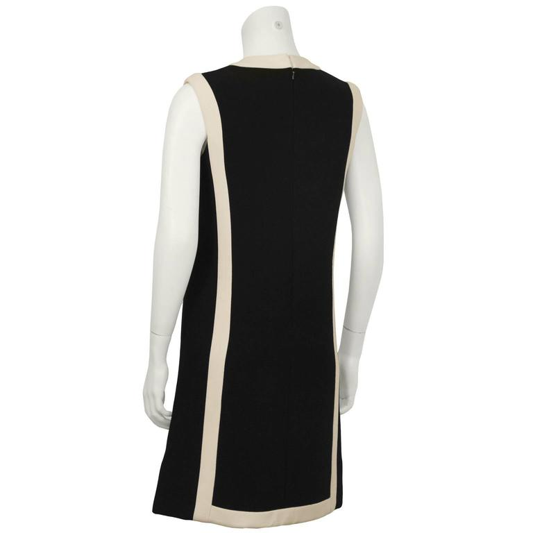 1960's Anonymous Black Wool Shift Dress w/ Cream Detail 3