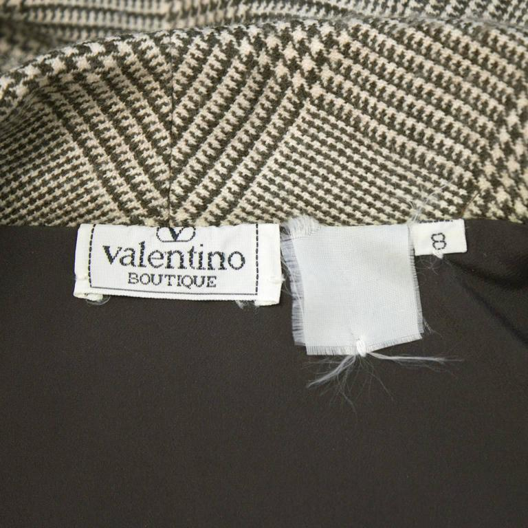Women's 1980's Valentino Brown Glen Check Wool Dress For Sale