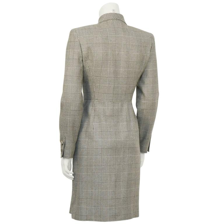 Gray 1980's Valentino Brown Glen Check Wool Dress For Sale