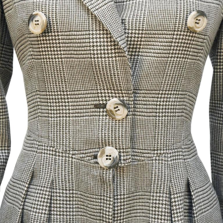 1980's Valentino Brown Glen Check Wool Dress In Excellent Condition For Sale In Toronto, Ontario