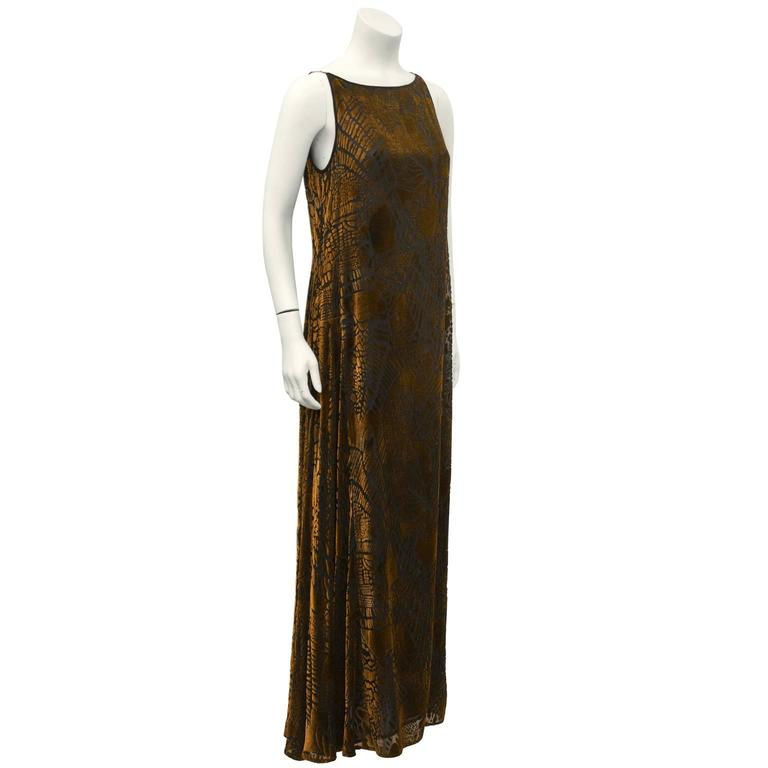 1980's Christian LaCroix Devoré Bronze Sleeveless Dress & Shawl 3