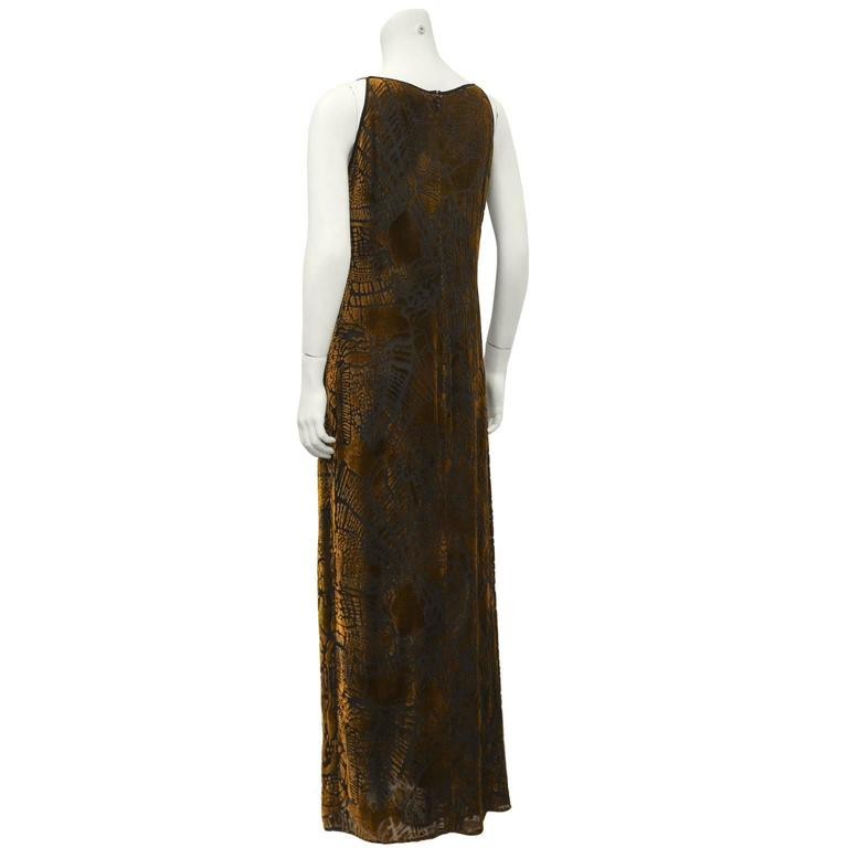 1980's Christian LaCroix Devoré Bronze Sleeveless Dress & Shawl In Excellent Condition For Sale In Toronto, Ontario