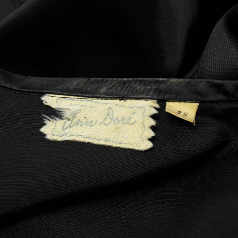 1940's Anonymous Black Satin Blouse With Beaded Flower For Sale 1
