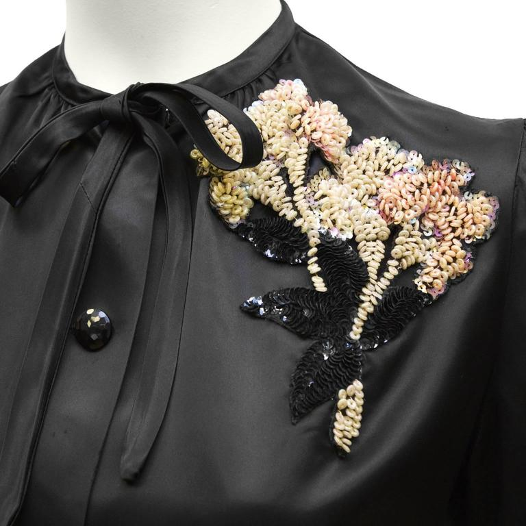 Women's 1940's Anonymous Black Satin Blouse With Beaded Flower For Sale