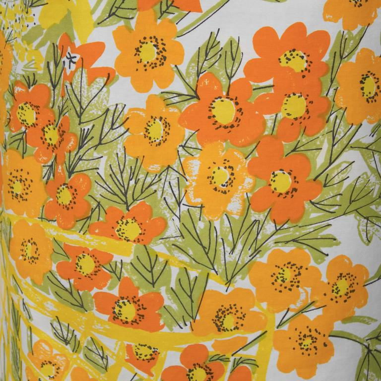 1960's Vera Cotton Marigold Blouse In Excellent Condition For Sale In Toronto, Ontario