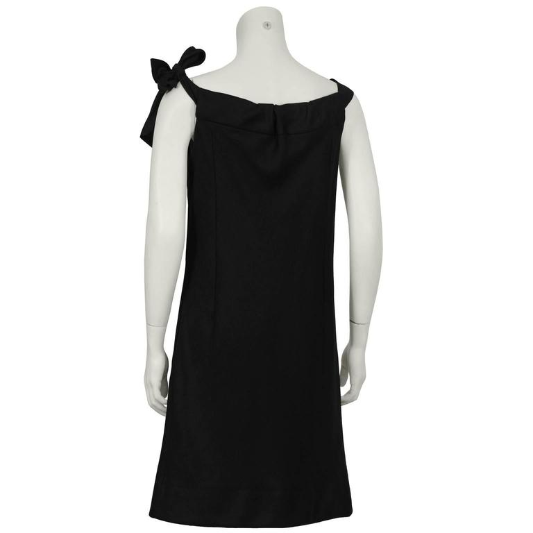 Gray 1960's Holt Renfrew Black Linen Dress For Sale