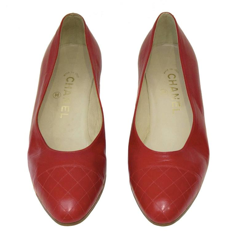 1980's Chanel Red Lady Pumps 2