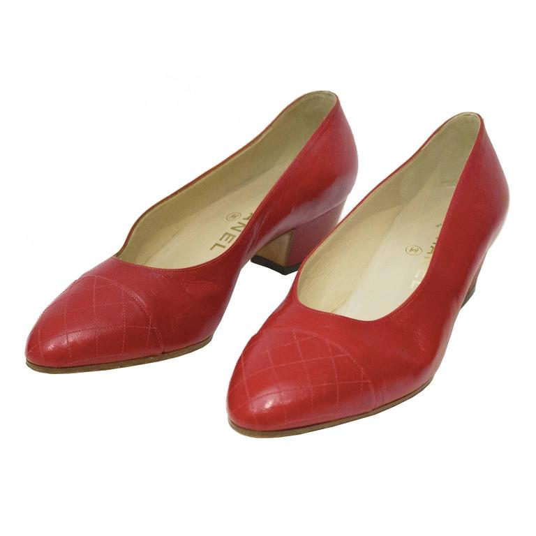 1980's Chanel Red Lady Pumps 1