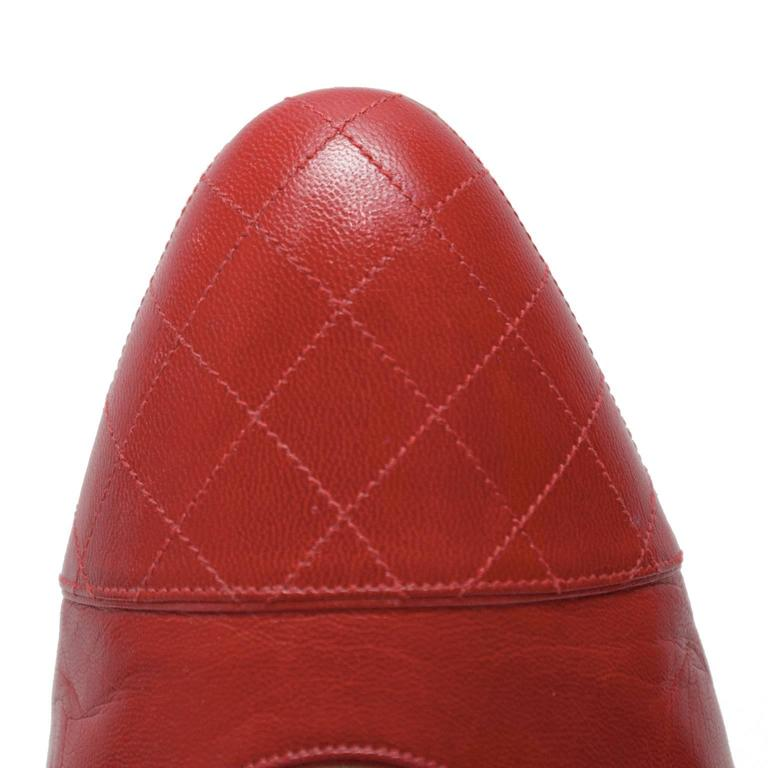 1980's Chanel Red Lady Pumps 4