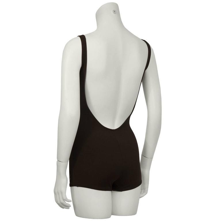 Black 1960's Jantzen Brown One-Piece Polyester Bathingsuit For Sale