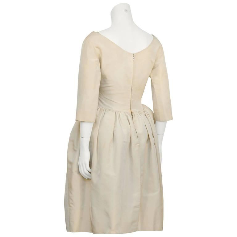 Early 1950's Dior Beige Silk Robe du Soir 3