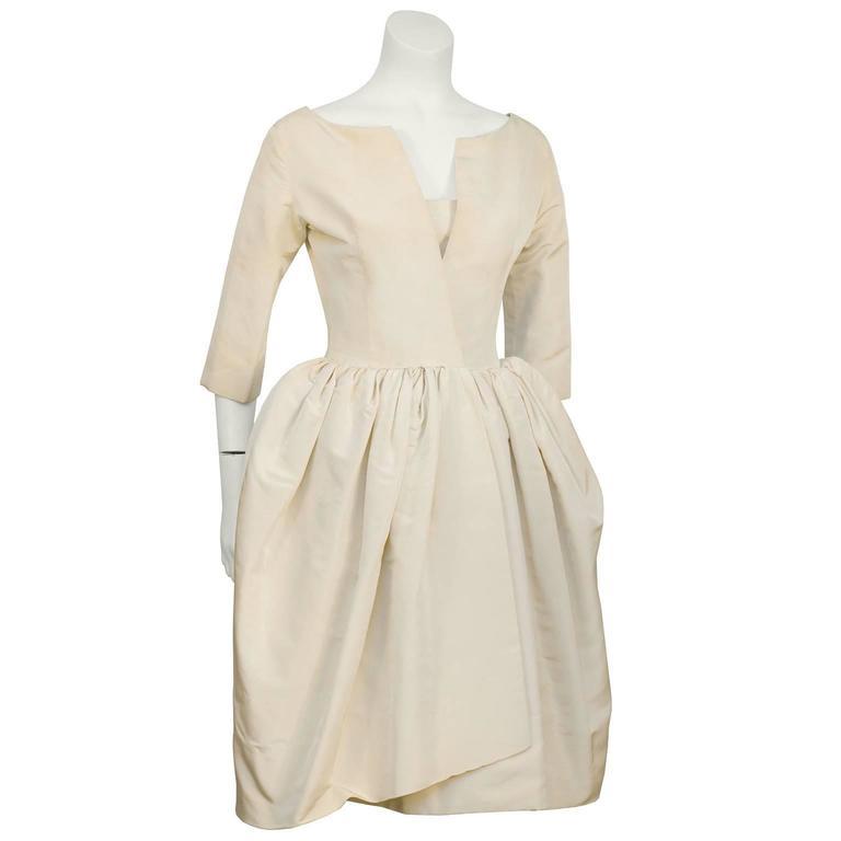 Early 1950's Dior Beige Silk Robe du Soir 2