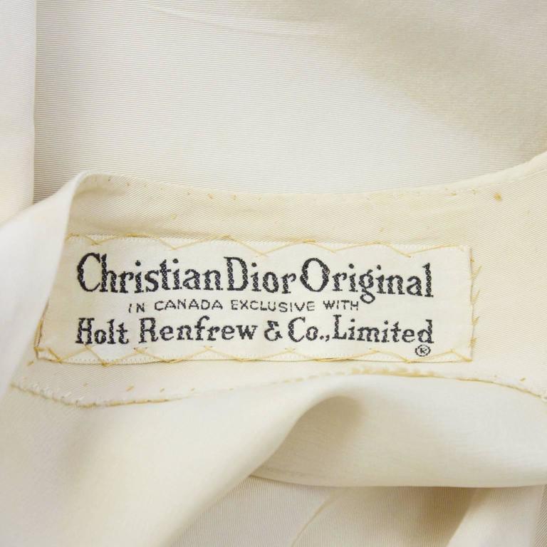 Early 1950's Dior Beige Silk Robe du Soir 7