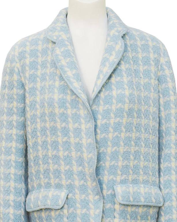 Gray 1996 Chanel Baby Blue Houndstooth Jacket  For Sale