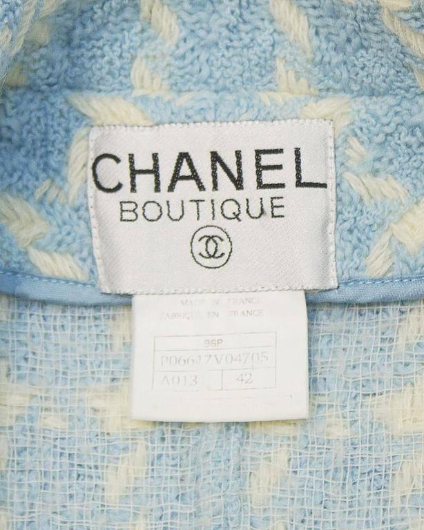 Women's 1996 Chanel Baby Blue Houndstooth Jacket  For Sale
