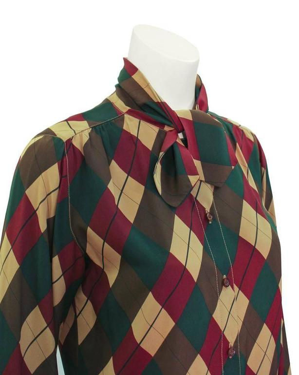 1970's Tiktiner Argyle Silk Blouse In Excellent Condition For Sale In Toronto, Ontario