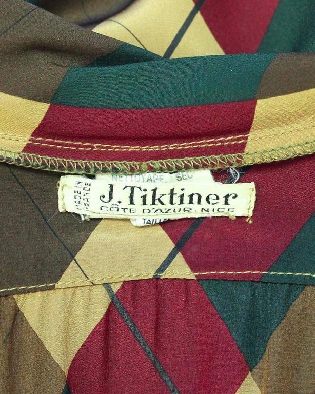 Women's 1970's Tiktiner Argyle Silk Blouse For Sale