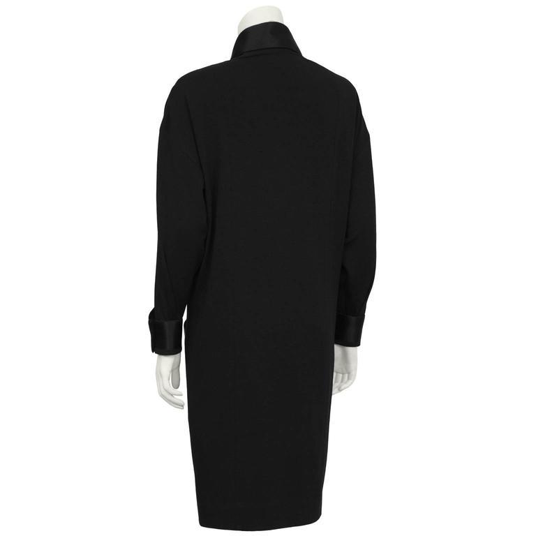 1980's Chanel Black Wool Jersey & Satin Dinner Dress  3