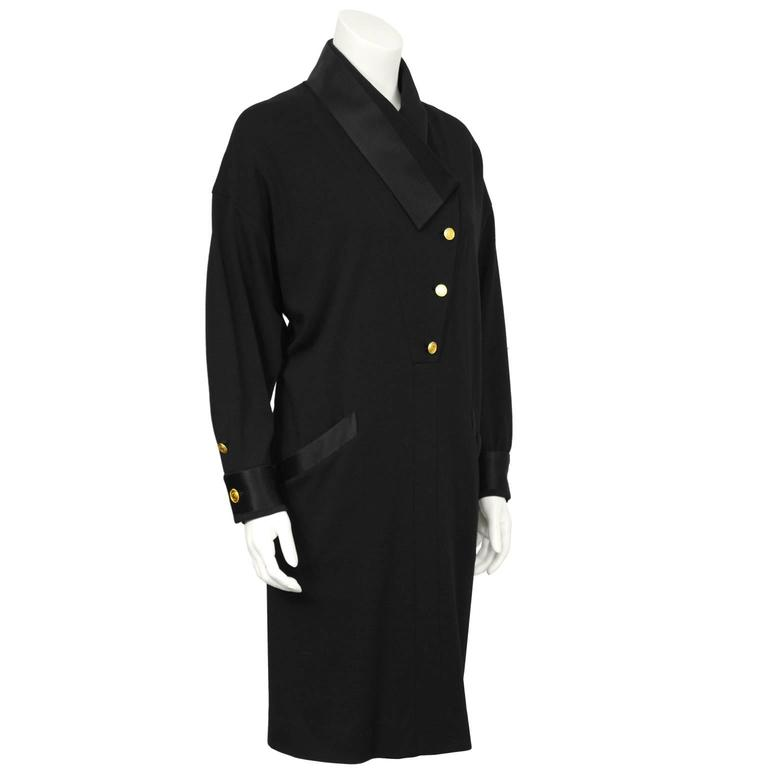 1980's Chanel Black Wool Jersey & Satin Dinner Dress  2
