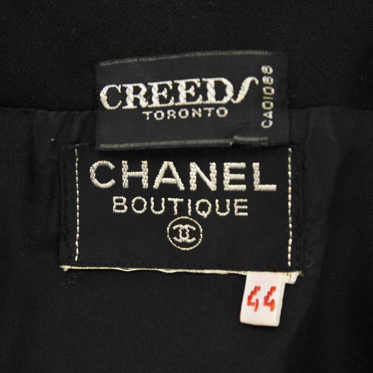 1980's Chanel Black Wool Jersey & Satin Dinner Dress  5