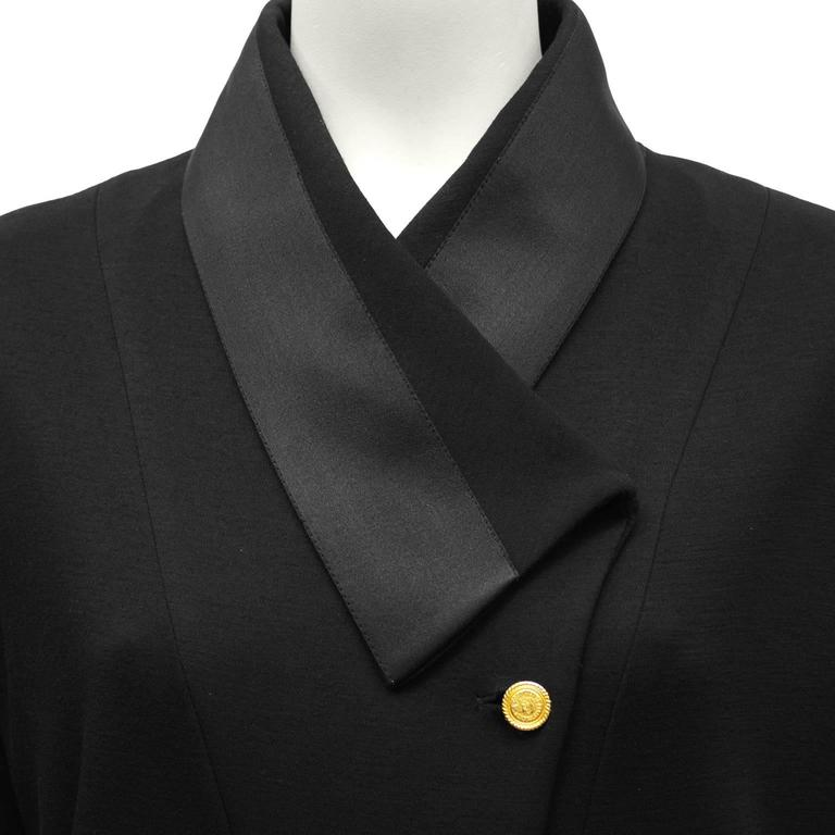 1980's Chanel Black Wool Jersey & Satin Dinner Dress  4