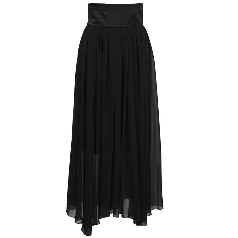1980's Chanel Black Chiffon Skirt  For Sale