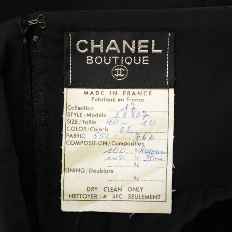 Women's 1980's Chanel Black Chiffon Skirt  For Sale