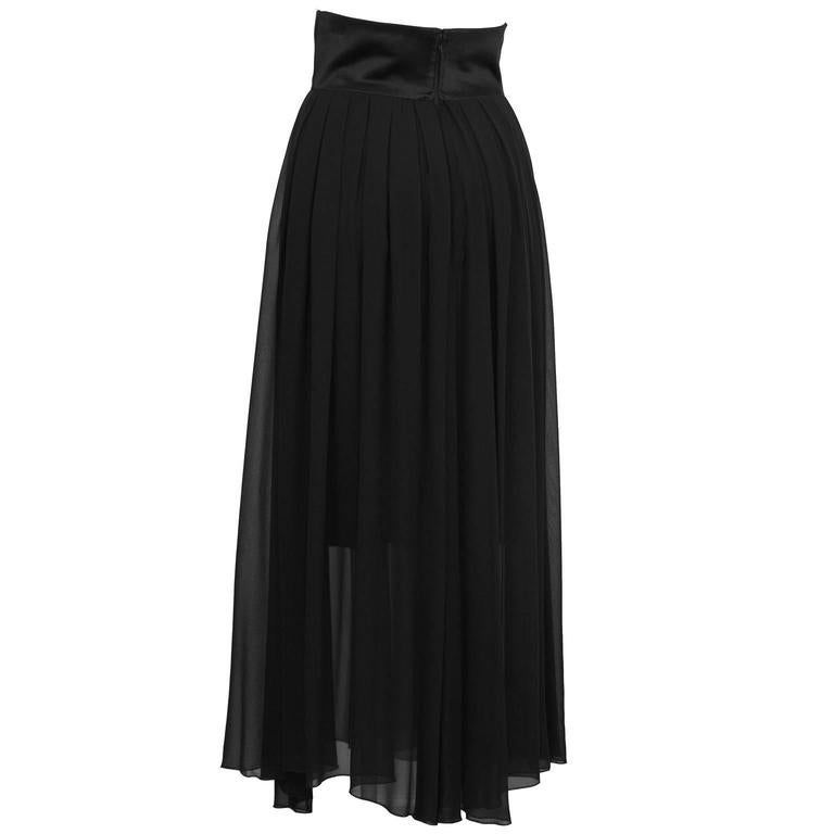 Gray 1980's Chanel Black Chiffon Skirt  For Sale