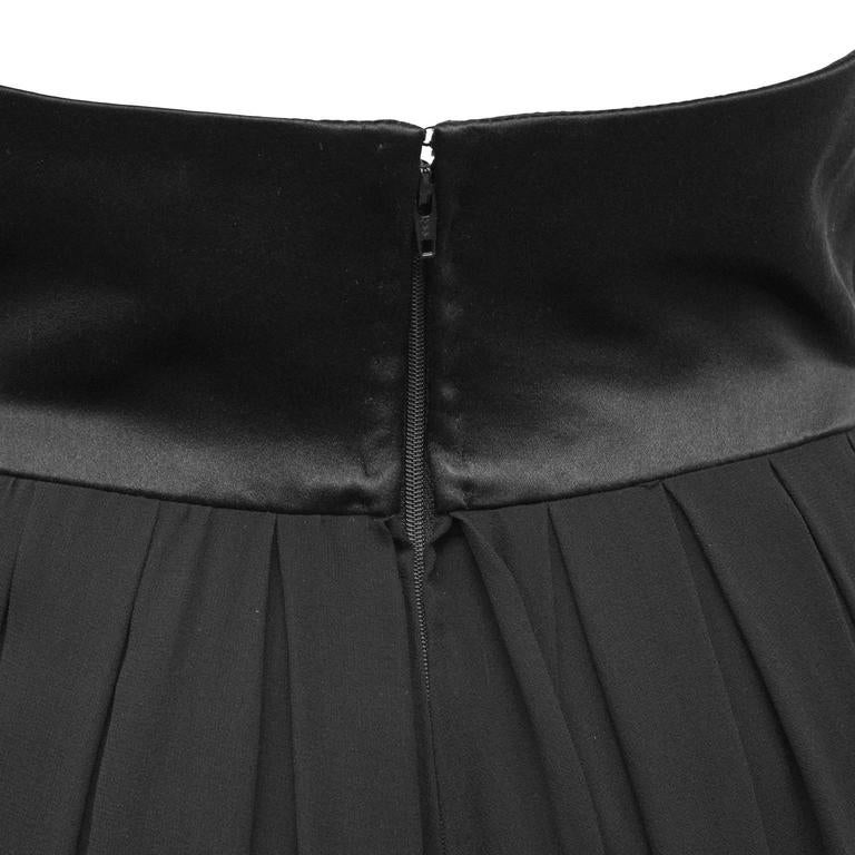 1980's Chanel Black Chiffon Skirt  In Excellent Condition For Sale In Toronto, Ontario